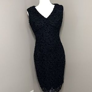 Lauren Ralph Lauren Black Lace Straight Dress 8